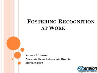 Fostering Recognition at Work