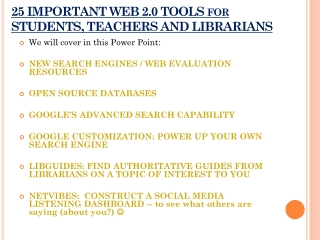 25 IMPORTANT WEB 2.0 TOOLS for STUDENTS, TEACHERS AND LIBRARIANS