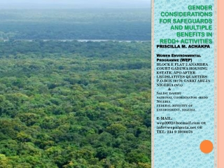 GENDER CONSIDERATIONS FOR  SAFEGUARDS  AND MULTIPLE BENEFITS IN REDD+ ACTIVITIES