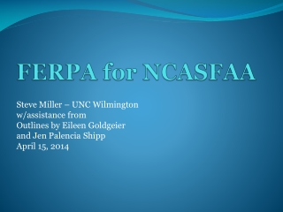 FERPA for NCASFAA