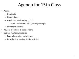 Agenda for 15th Class