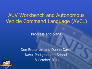AUV Workbench and Autonomous Vehicle Command Language (AVCL)