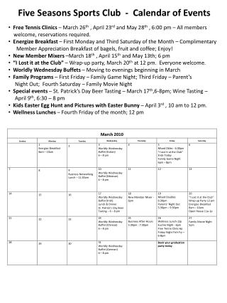 Five Seasons Sports Club  -  Calendar of Events