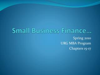 Small Business Finance�