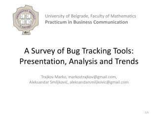 A Survey of Bug Tracking Tools: Presentation, Analysis and  Trends