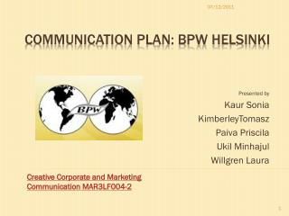 Communication Plan: BPW Helsinki
