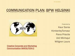 Communication Plan: BPW Helsinki