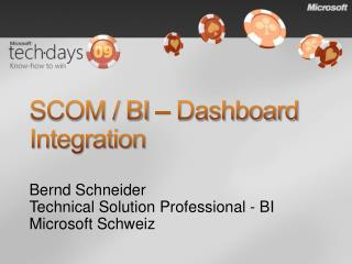 SCOM / BI � Dashboard Integration