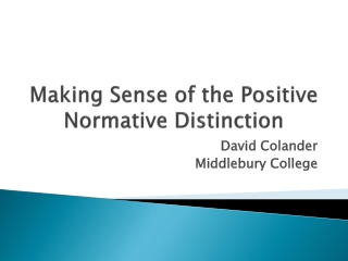 Making Sense of the Positive Normative Distinction