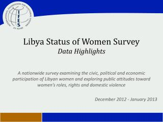 Libya Status of Women Survey Data  Highlights