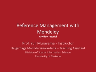 Reference Management with Mendeley   A Video Tutorial
