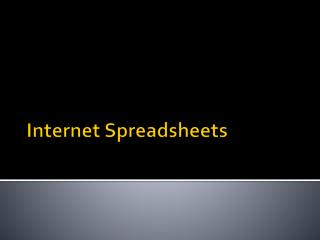 Internet Spreadsheets
