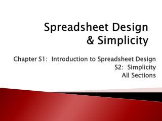 Spreadsheet Design & Simplicity