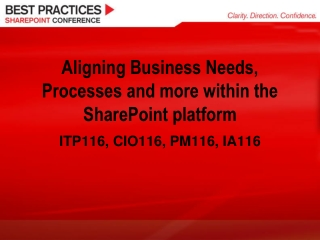 Aligning Business Needs, Processes and more within the SharePoint platform
