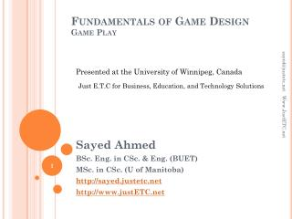 Fundamentals of Game Design Game Play