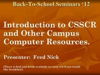Back-To-School Seminars '12