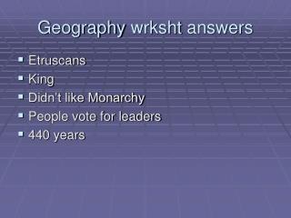 Geography  wrksht  answers