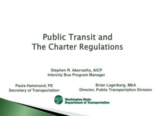 Public Transit and  The Charter Regulations