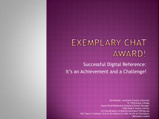 Exemplary Chat Award!