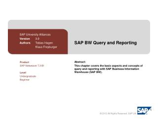 SAP BW  Query  and  Reporting