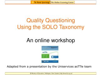 quality questioning using the solo taxonomy  an online workshop