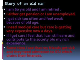 Story of an old man