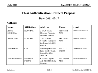 TGai  Authentication Protocol Proposal