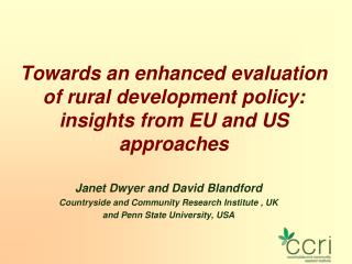 Towards an enhanced evaluation of rural development policy: insights from EU and US approaches