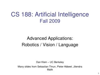 CS 188: Artificial Intelligence Fall 2009