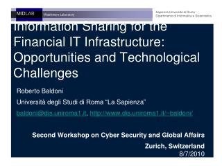 Information Sharing for the Financial IT Infrastructure: Opportunities and Technological Challenges