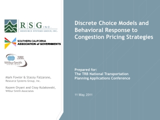 Discrete Choice Models and Behavioral Response to Congestion Pricing Strategies