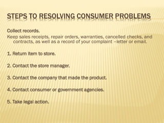 steps to resolving consumer problems