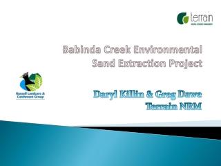 Babinda Creek Environmental  Sand Extraction Project