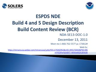 ESPDS NDE Build 4 and 5 Design Description Build Content Review (BCR)