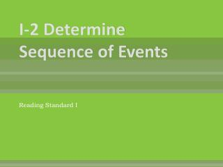 I-2 Determine Sequence of Events