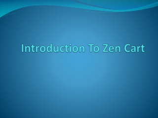 Introduction To Zen Cart