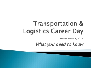 Transportation & Logistics Career Day