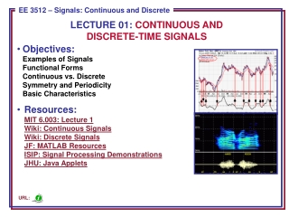 Objectives: Examples of Signals Functional Forms Continuous vs. Discrete Symmetry and Periodicity Basic Characteristics