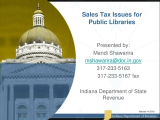 Sales Tax Issues for Public Libraries