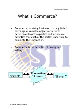 Basic Computer Concepts What is Commerce?