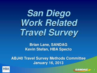 San Diego  Work Related Travel Survey