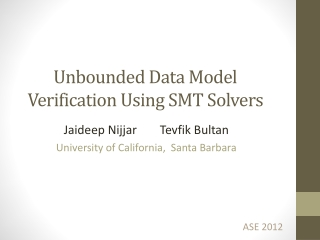 Unbounded Data Model Verification Using SMT Solvers