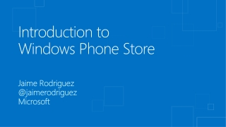 Introduction to  Windows Phone Store