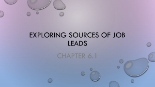 Exploring Sources of Job Leads