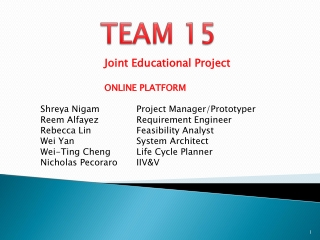 Joint Educational Project  	ONLINE PLATFORM Shreya Nigam		Project Manager/Prototyper Reem Alfayez		Requirement Engineer