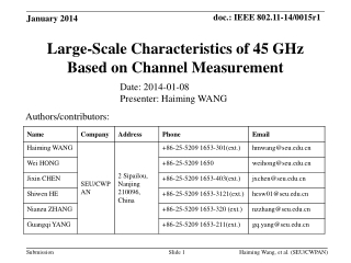 Large-Scale Characteristics of 45 GHz Based on Channel Measurement