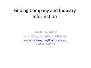Finding  Company and Industry Information