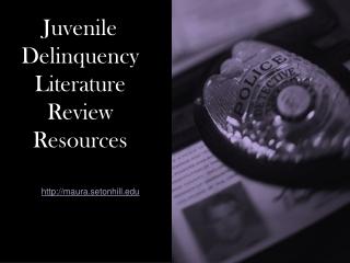 Juvenile Delinquency Literature Review Resources