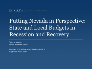 Putting Nevada in Perspective:   State and Local Budgets in Recession and Recovery