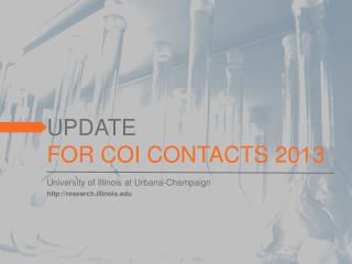 UPDATE FOR COI CONTACTS 2013